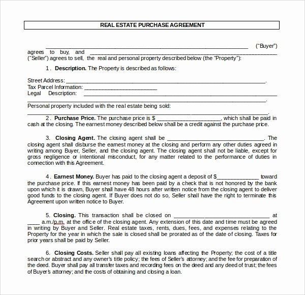 Purchase Agreement Template Word Elegant Sample Real Estate Purchase Agreement Template 7 Free
