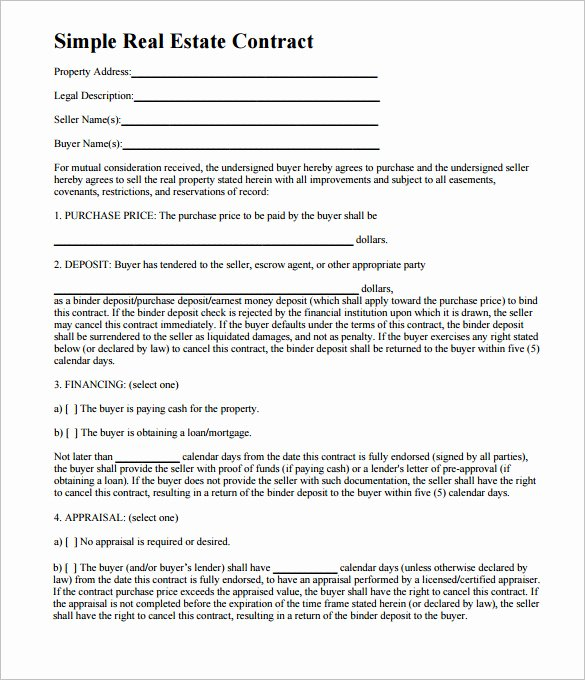 Purchase Agreement Template Word Fresh Simple Land Purchase Agreement form