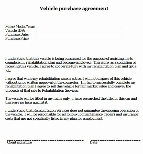 Purchase Agreement Template Word Lovely Car Purchase Agreement Templates Word Excel Samples