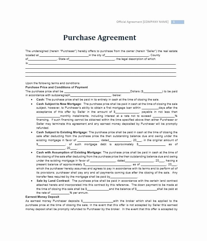 Purchase Agreement Template Word Luxury 37 Simple Purchase Agreement Templates [real Estate Business]