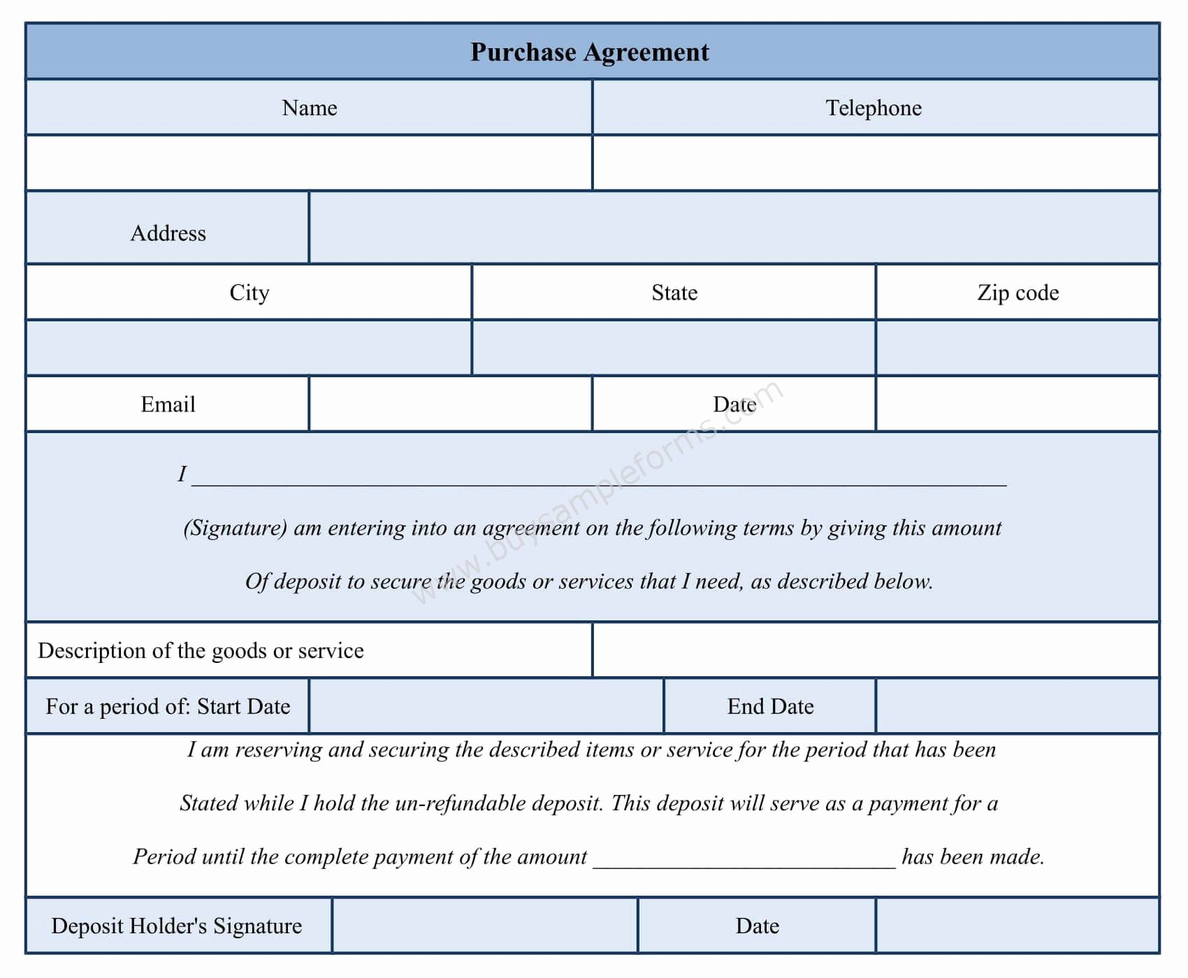 Purchase Agreement Template Word Unique Purchase Agreement form Template Sample forms