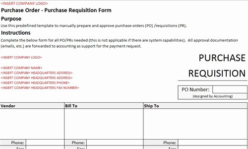 Purchase order Request form Template Best Of Purchase Requisition form Accounting Template
