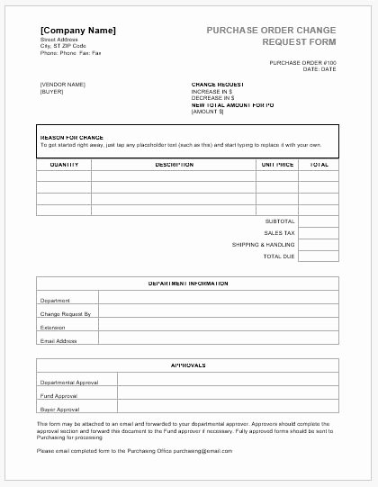 Purchase order Request form Template Lovely Purchase order Change Request forms