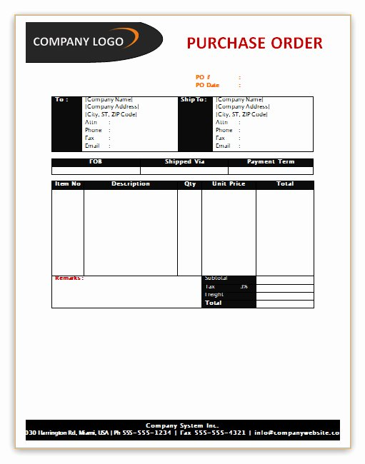 Purchase order Template Microsoft Word Inspirational Purchase order Template
