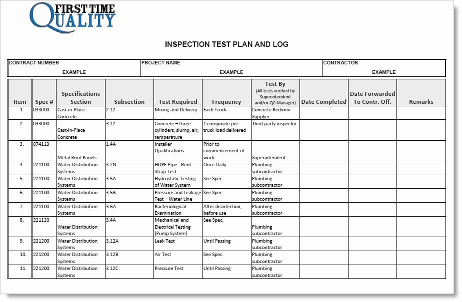 Quality Control Plan Template Construction Best Of Inspection Test Plan form Pleted Example
