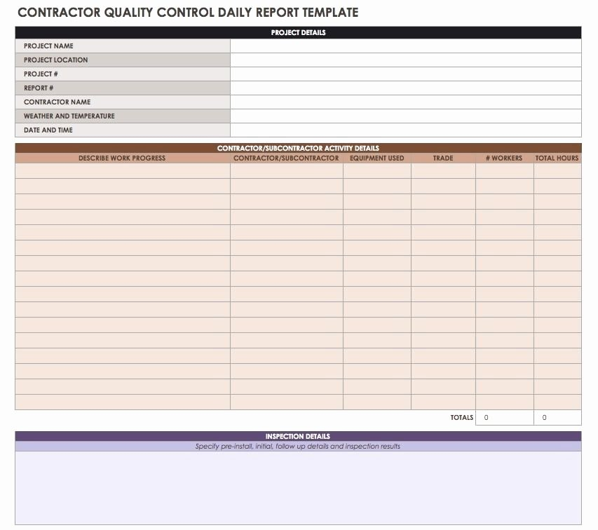 Quality Control Plan Template Construction Luxury Construction Daily Reports Templates or software Smartsheet