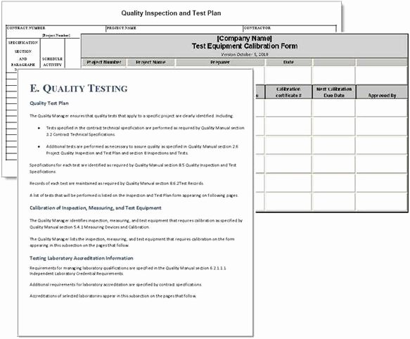 Quality Control Plan Template Construction Unique Project Plan Sample forms