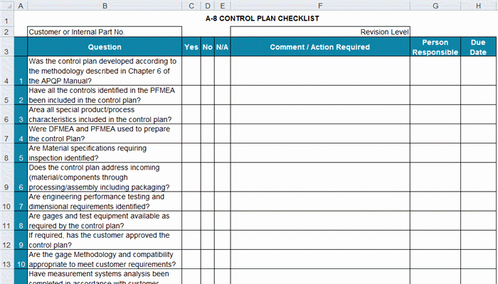 Quality Control Plan Template Excel Best Of Apqp Checklists In Excel
