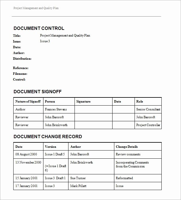 Quality Control Plan Template Excel Elegant Project Management Template 15 Download Free Documents