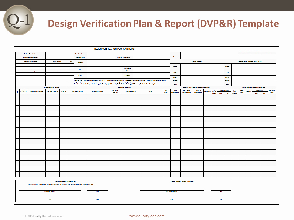 Quality Control Plan Template Excel Fresh Dvp&r Design Verification Plan and Report