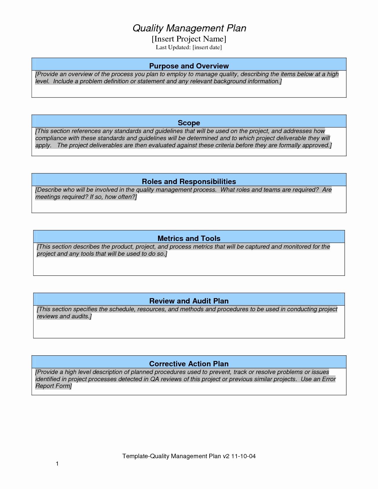 Quality Control Plan Template Excel Fresh Quality Plan Template Project Management
