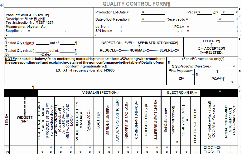 Quality Control Plan Template Excel Inspirational Quality Control form for Microsoft Word and Excel
