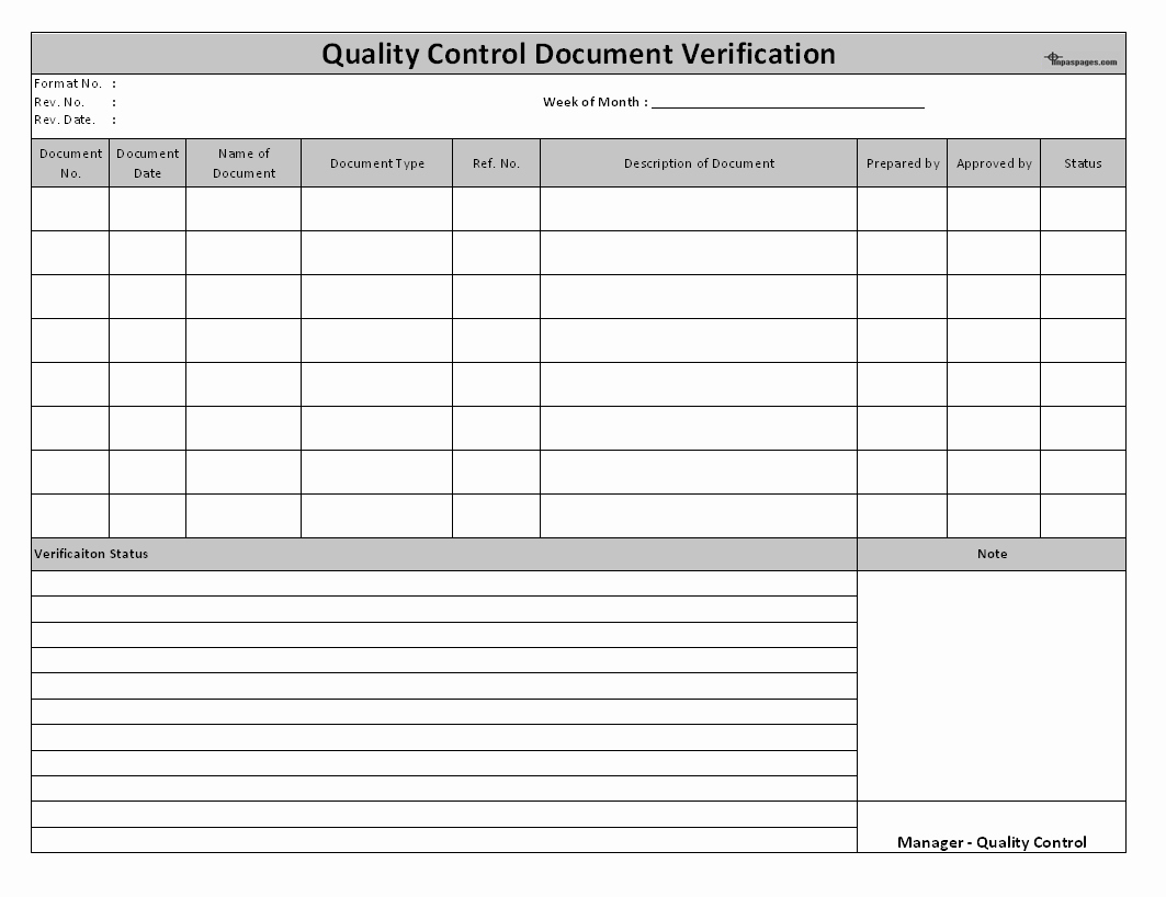 Quality Control Plan Template Excel New Quality Control Document Verification System