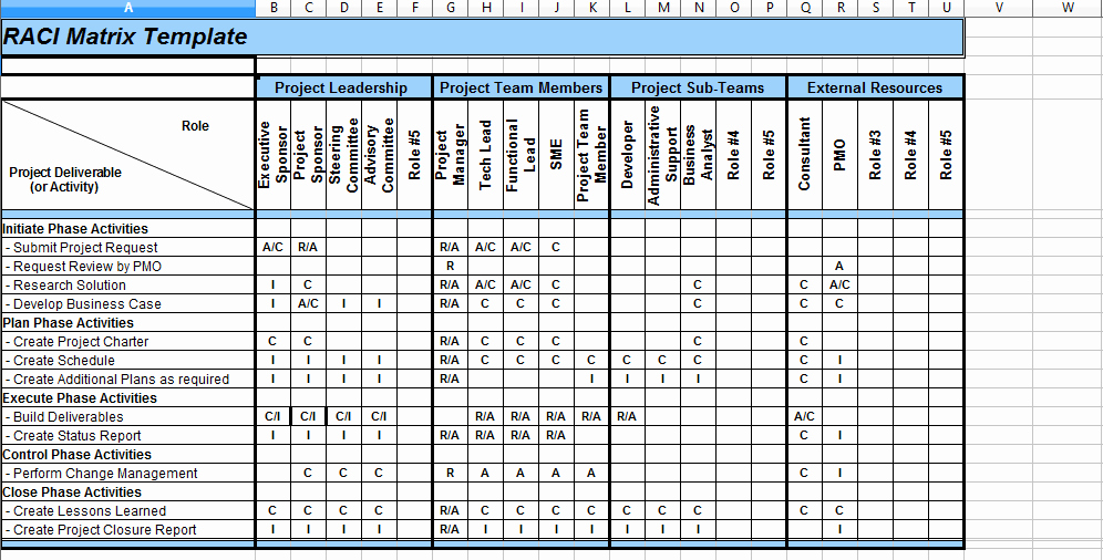 Raci Chart Template Excel Fresh 5 Raci Matrix Template Excel Project Management