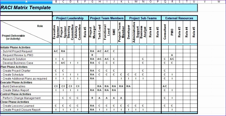 Raci Chart Template Excel Luxury 10 Roles and Responsibilities Matrix Template Excel