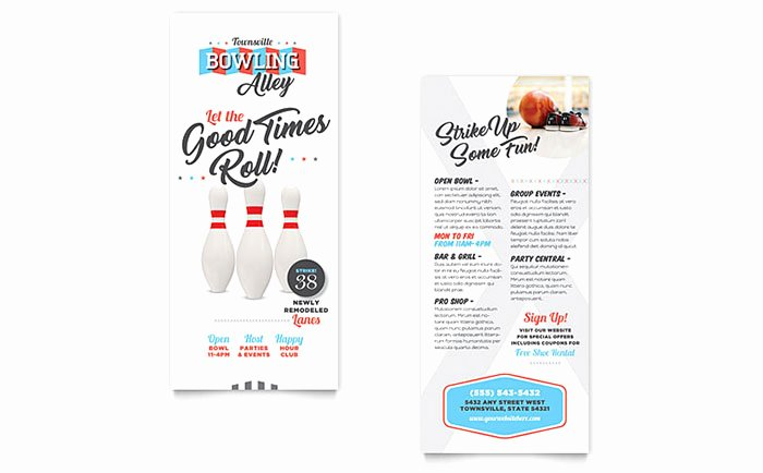 Rack Card Template Word Beautiful Bowling Rack Card Template Word & Publisher
