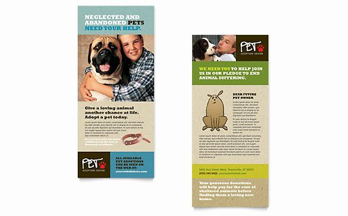 Rack Card Template Word Elegant Animal Shelter & Pet Adoption Business Card & Letterhead