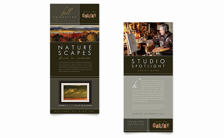 Rack Card Template Word Inspirational Art Gallery & Artist Rack Card Template Word & Publisher