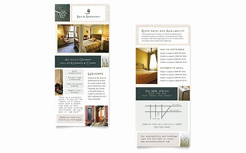 Rack Card Template Word Lovely Bed & Breakfast Motel Tri Fold Brochure Template Word