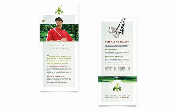 Rack Card Template Word Lovely Golf Course & Instruction Rack Card Template Design