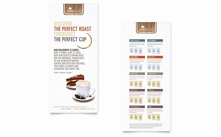 Coffee Shop Rack Card Templates FB D