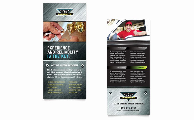 Rack Card Template Word Unique Locksmith Rack Card Template Word & Publisher