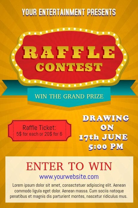 Raffle Flyer Template Free Luxury Yellow Raffle Poster Template