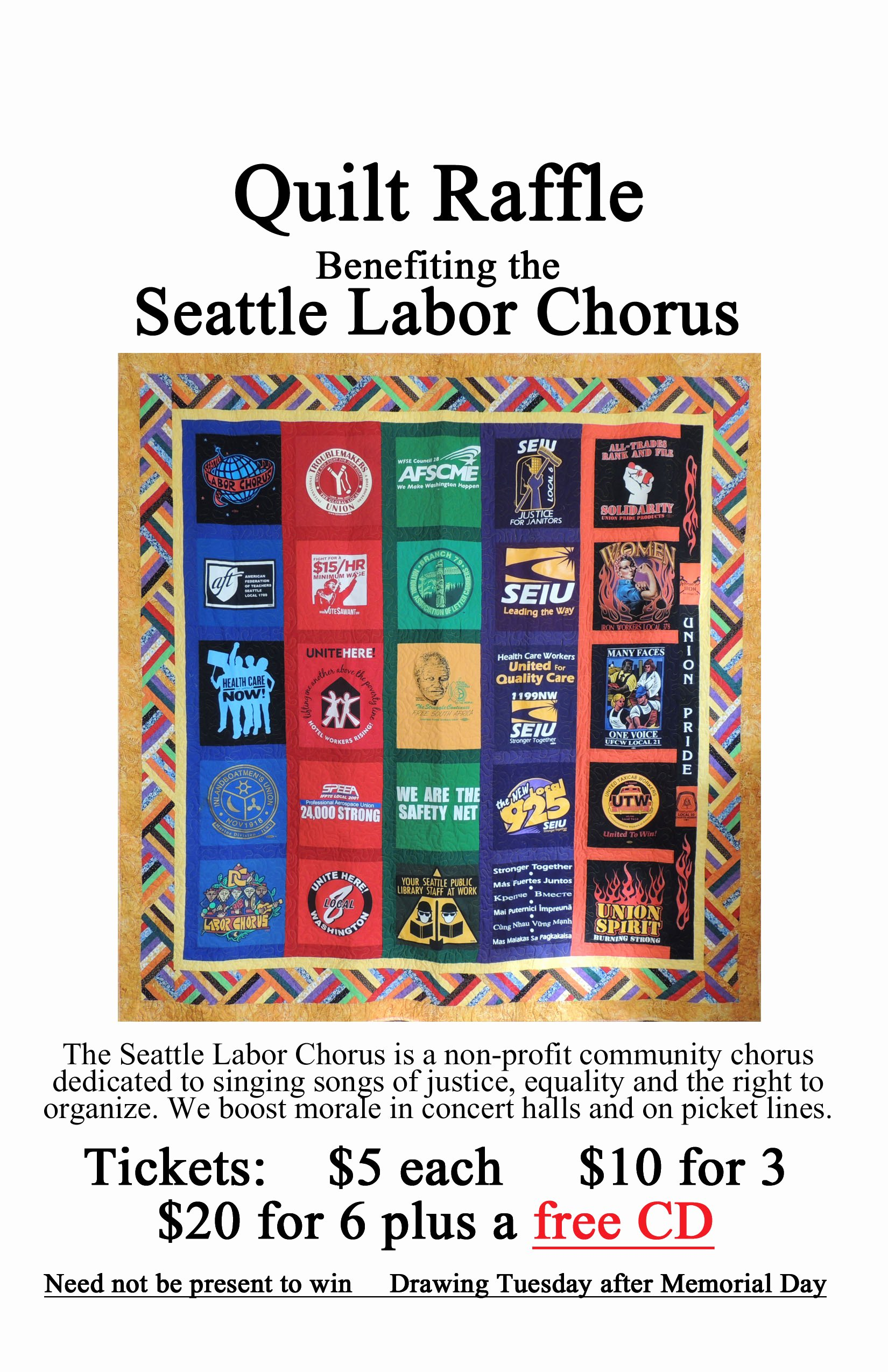 Raffle Flyer Template Free New Seattle Labor Chorus the Musical Voice Of Justice News