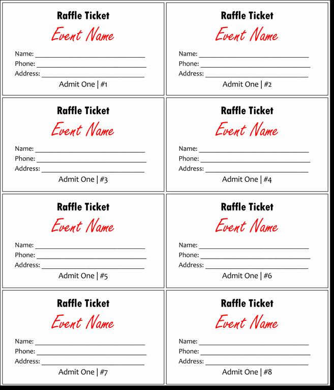 Raffle Ticket Template Free Inspirational Raffle Tickets Template