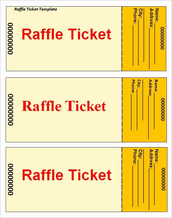 Raffle Ticket Template Free Luxury Raffle Ticket Template … Printable Templates