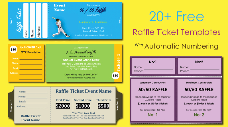Raffle Tickets Template Word Lovely 20 Free Raffle Ticket Templates with Automate Ticket