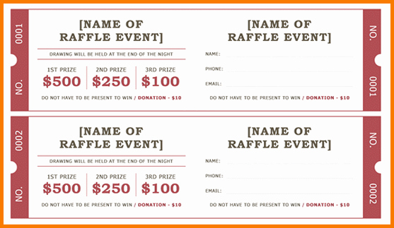 Raffle Tickets Template Word Luxury Free Raffle Ticket Template for Word