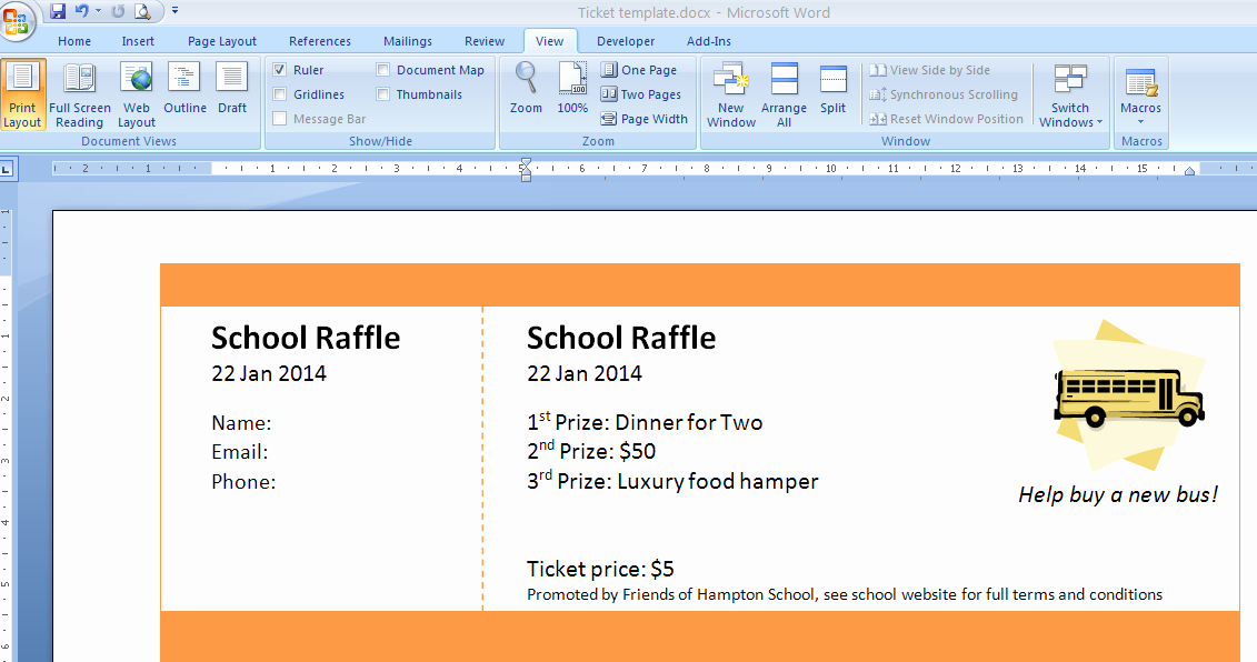 Raffle Tickets Template Word Luxury Print Numbered Tickets In Word