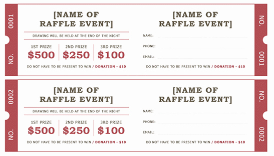 Raffle Tickets Template Word New Raffle Ticket Template