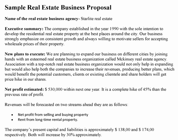 Real Estate Investment Proposal Template Awesome Creating A Real Estate Business Plan Free Template