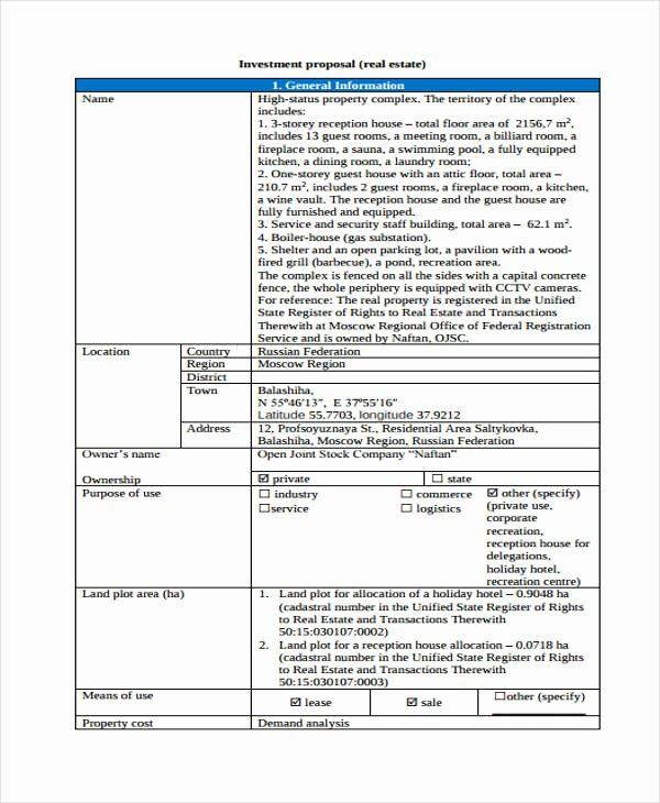 Real Estate Investment Proposal Template Elegant 33 Proposal formats