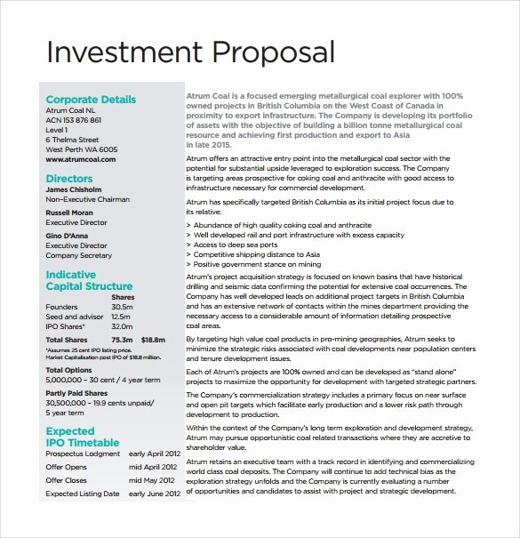Real Estate Investment Proposal Template Elegant How to Write Investment Proposal Sample