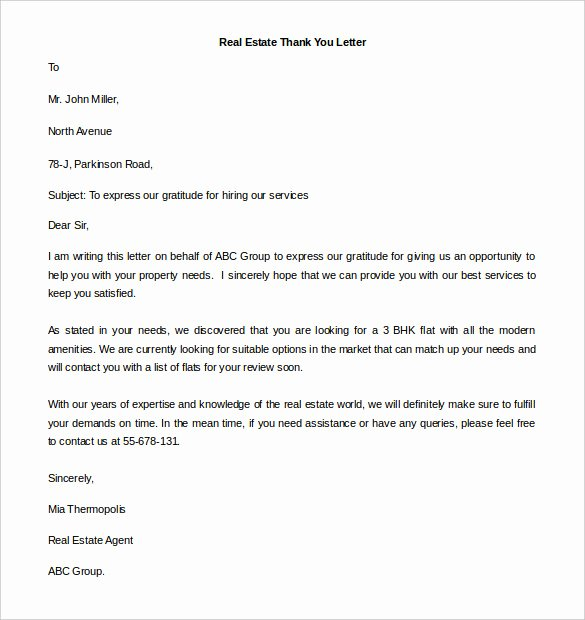 Real Estate Letter Templates Awesome 41 Free Thank You Letter Templates Doc Pdf