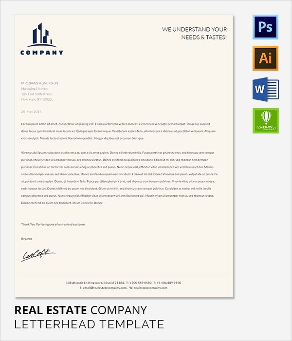 Real Estate Letter Templates Awesome Sample Pany Letterhead Template 53 Download In Psd