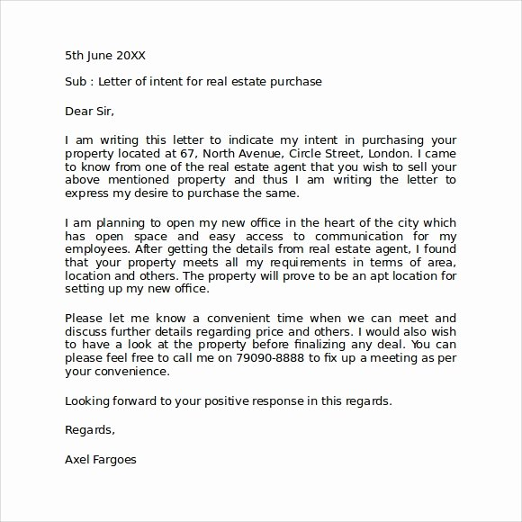 Real Estate Letter Templates Beautiful Letter Of Intent Real Estate 9 Download Free Documents