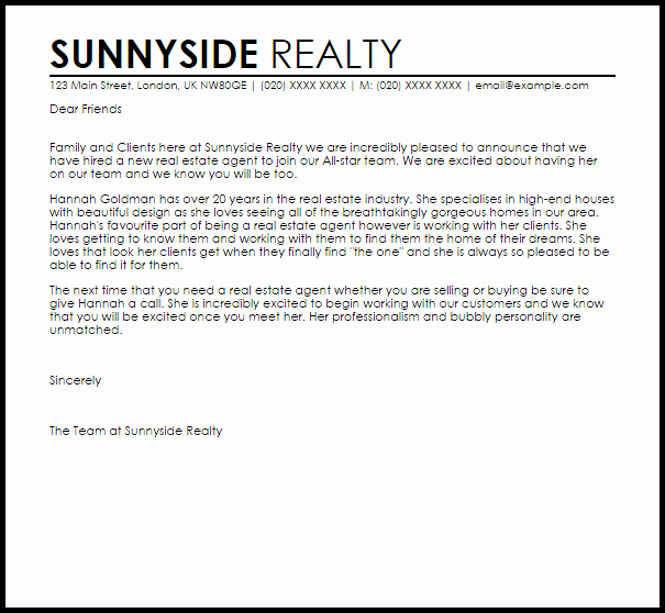 Real Estate Letter Templates Best Of New Real Estate Agent Announcement Letter Example