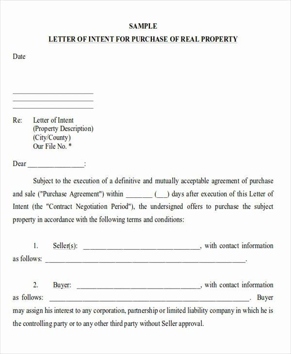 Real Estate Letter Templates Elegant 60 Sample Letter Of Intent