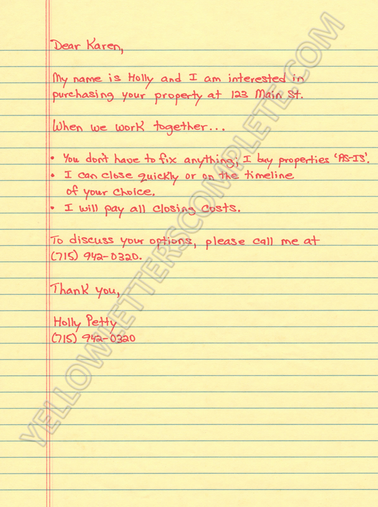 Real Estate Letter Templates Lovely Yellow Letter Templates
