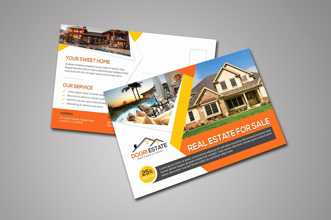 Real Estate Postcard Templates Awesome Real Estate Postcard Card Templates Creative Market