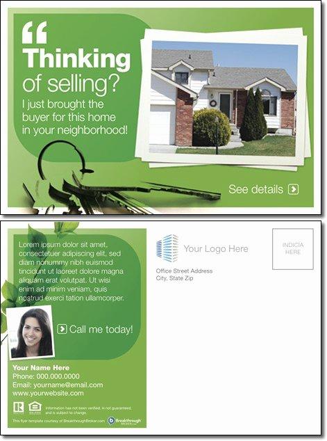 "Real Estate Postcard Templates Elegant ""thinking Selling "" Postcard"