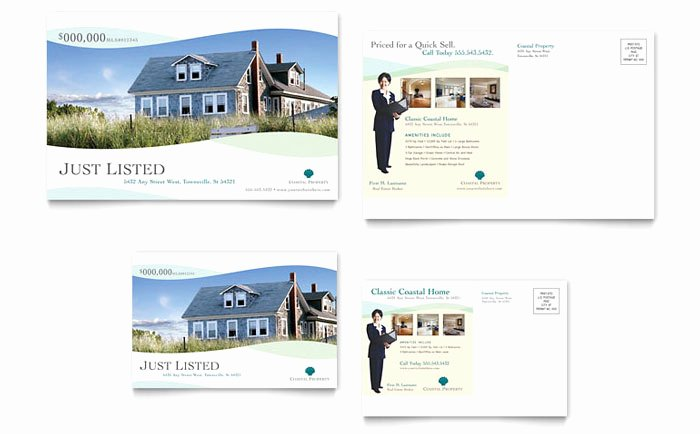 Real Estate Postcards Templates Awesome Coastal Real Estate Postcard Template Design
