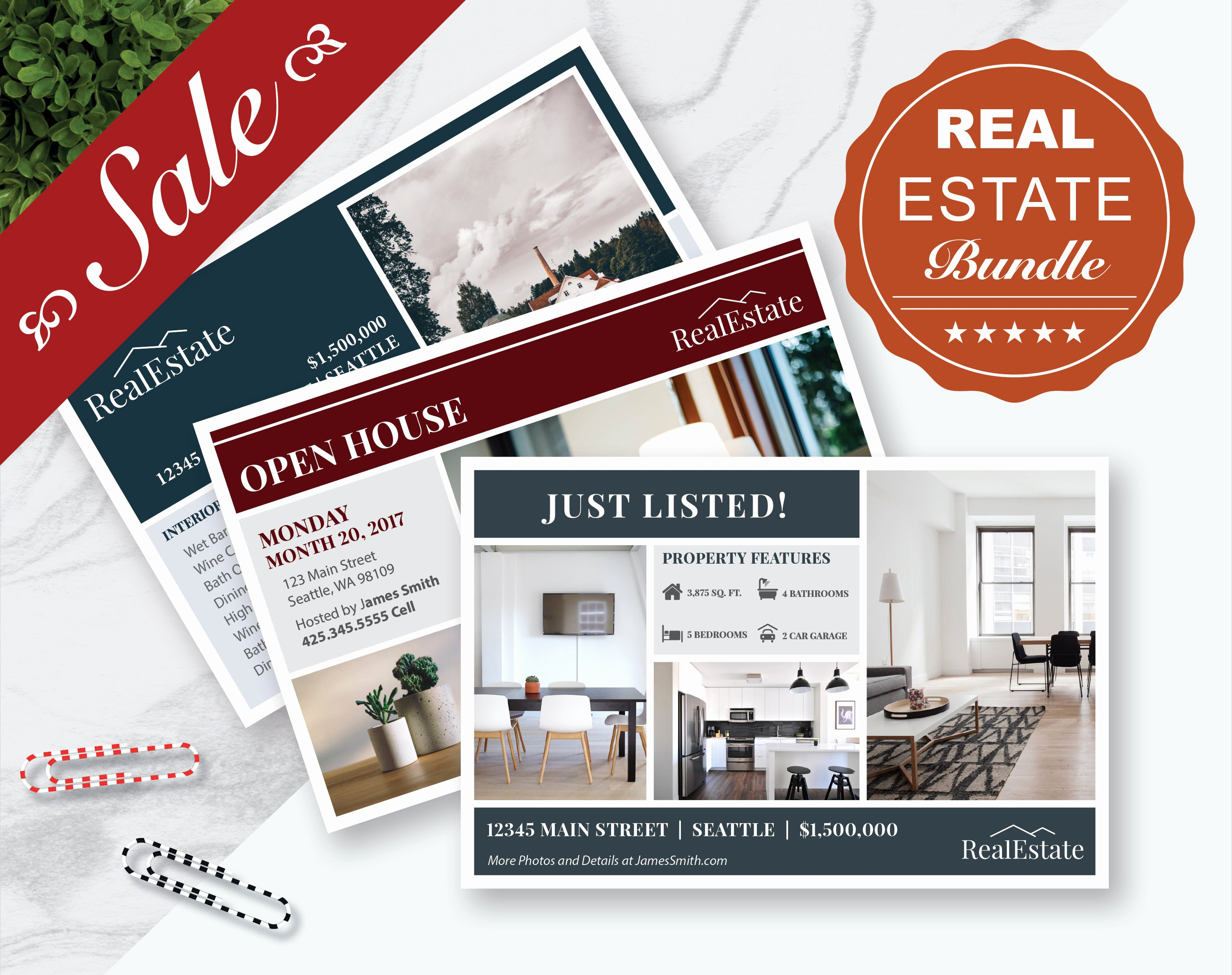 Real Estate Postcards Templates Awesome Real Estate Marketing Postcards Bundle 3 Postcard Templates