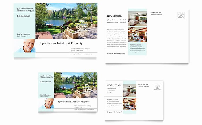 Real Estate Postcards Templates Free Beautiful Lakefront Property Postcard Template Design
