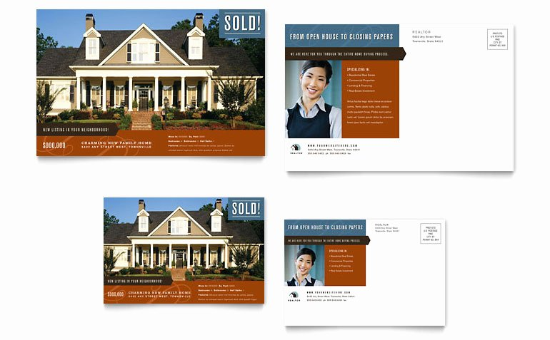 Real Estate Postcards Templates Fresh Residential Realtor Postcard Template Word & Publisher