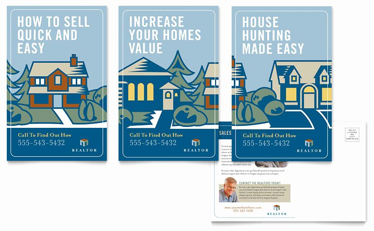 Real Estate Postcards Templates Unique Real Estate Agent Postcard Template Word & Publisher